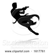 Vector Illustration of Action Movie Shoot out Person Silhouette, on a White Background by AtStockIllustration