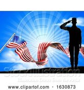 Vector Illustration of American Flag Patriotic Soldier Salute Background by AtStockIllustration