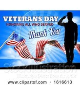 Vector Illustration of American Flag Veterans Day Soldier Saluting by AtStockIllustration