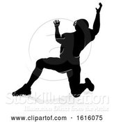 Vector Illustration of American Football Player Silhouette, on a White Background by AtStockIllustration