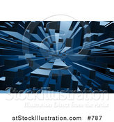 Vector Illustration of an Abstract Blue Block Background by AtStockIllustration