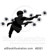Vector Illustration of an Action Hero Leaping Through the Air and Shooting, with Bullet Holes by AtStockIllustration