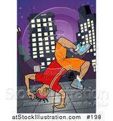 Vector Illustration of an African American Breakdancer Doing a One Handed Handstand on a Sidewalk at Night by AtStockIllustration