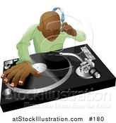 Vector Illustration of an African American DJ Mixing His Records and Listening Through Headphones by AtStockIllustration