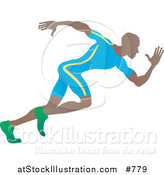 Vector Illustration of an African American Sprinter Man Running During a Race by AtStockIllustration
