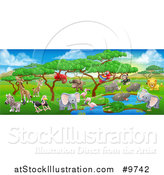 Vector Illustration of an African Safari Landscape with Cute Animals by AtStockIllustration