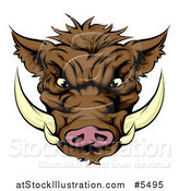 Vector Illustration of an Aggressive Boar Mascot Face by AtStockIllustration