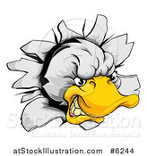 Vector Illustration of an Aggressive Duck Mascot Breaking Through a Wall by AtStockIllustration