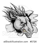 Vector Illustration of an Aggressive Gray Horse Stallion Breaking Through a Wall by AtStockIllustration