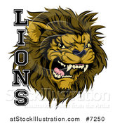Vector Illustration of an Aggressive Male Lion Roaring Mascot and Text by AtStockIllustration