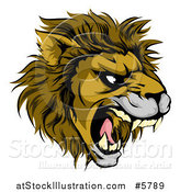 Vector Illustration of an Aggressive Male Lion Roaring Mascot by AtStockIllustration