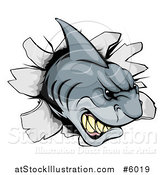 Vector Illustration of an Aggressive Shark Breaking Through a Wall by AtStockIllustration
