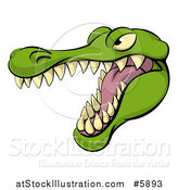 Vector Illustration of an Aggressive Snarling Alligator Mascot Head by AtStockIllustration