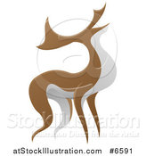 Vector Illustration of an Alert Stag Deer Buck by AtStockIllustration