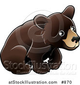 Vector Illustration of an American Black Bear Cub (Ursus Americanus) Sitting over a White Background by AtStockIllustration