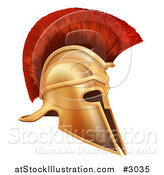 Vector Illustration of an Ancient Bronze Corinthian Spartan Helmet by AtStockIllustration