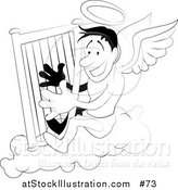 Vector Illustration of an Angel with a Halo Playing a Harp - Black and White Version by AtStockIllustration