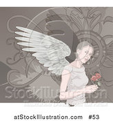 Vector Illustration of an Angelic Woman with Wings, Holding Roses by AtStockIllustration