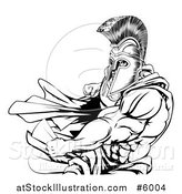 Vector Illustration of an Angry Black and White Strong Spartan Warrior Punching by AtStockIllustration