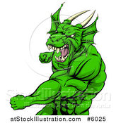Vector Illustration of an Angry Muscular Green Dragon Man Punching by AtStockIllustration