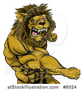 Vector Illustration of an Angry Muscular Lion Man Punching by AtStockIllustration