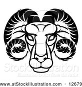 Vector Illustration of an Aries Ram - Zodiac Horoscope Astrology - Black Outline by AtStockIllustration