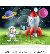 Vector Illustration of an Astronaut Planting an Earth Flag on a Foreign Planet in Outer Space by AtStockIllustration