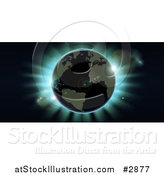 Vector Illustration of an Atlantic Earth Against Blue Northern Lights During an Eclipse by AtStockIllustration