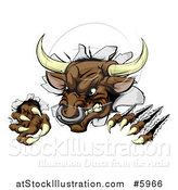 Vector Illustration of an Attacking Aggressive Bull Breaking Through a Wall by AtStockIllustration