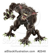 Vector Illustration of an Attacking Werewolf by AtStockIllustration