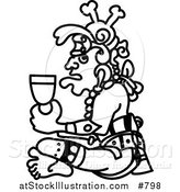 Vector Illustration of an Aztec Man Drinking from a Cup by AtStockIllustration