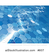 Vector Illustration of an Electrical Lightning Bolt Striking Through a Blue Hexagon Background by AtStockIllustration