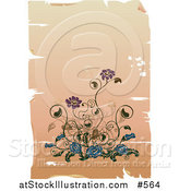 Vector Illustration of an Elegant Purple and Blue Flowers on a Worn Background by AtStockIllustration