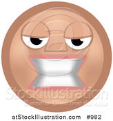 Vector Illustration of an Emoticon Bearing Teeth - Tan Version by AtStockIllustration