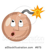 Vector Illustration of an Emoticon Bomb with Lit Fuse - Tan Version by AtStockIllustration