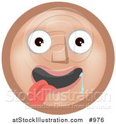 Vector Illustration of an Emoticon Hanging Drooling with Tongue out - Tan Version by AtStockIllustration
