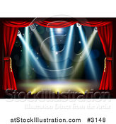 Vector Illustration of an Empty Theater Stage with Red Curtains and Shining Lights by AtStockIllustration
