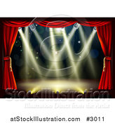 Vector Illustration of an Empty Theater Stage with Red Drapes and Shining Lights by AtStockIllustration