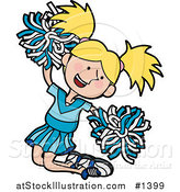 Vector Illustration of an Energetic Blond Cheerleader Girl in a Blue Uniform, Jumping with Pom Poms by AtStockIllustration