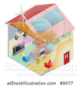 Vector Illustration of an Energy Efficient Home with Insulation Wind Turbine and Solar Panels by AtStockIllustration