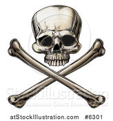 Vector Illustration of an Engraved Human Skull over Crossed Bones by AtStockIllustration