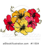 Vector Illustration of an Engraved or Woodcut Colorful Hibiscus Flower Design by AtStockIllustration