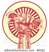 Vector Illustration of an Engraved Revolutionary Fist Holding Money over a Red and Yellow Burst Circle by AtStockIllustration