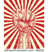 Vector Illustration of an Engraved Revolutionary Fist over Beige and Red Rays by AtStockIllustration