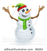 Vector Illustration of an Excited Snowman Wearing a Christmas Elf Hat by AtStockIllustration