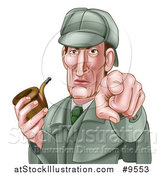 Vector Illustration of an Experienced Detective Posing with a Tobacco Pipe While Pointing His Finger Forward - Cartoon Style by AtStockIllustration
