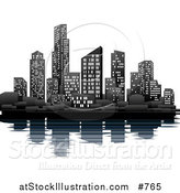 Vector Illustration of an Illuminated City Skyline on the Waterfront by AtStockIllustration
