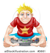 Vector Illustration of an Obsessed Blond Gamer Guy Holding a Remote by AtStockIllustration