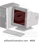Vector Illustration of an Old Desktop Computer with a CRT Screen by AtStockIllustration