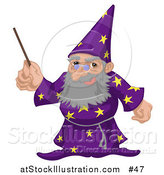 Vector Illustration of an Old Male Warlock Wizard Magician in a Purple Cloak with Star Patterns, Holding a Magic Wand by AtStockIllustration